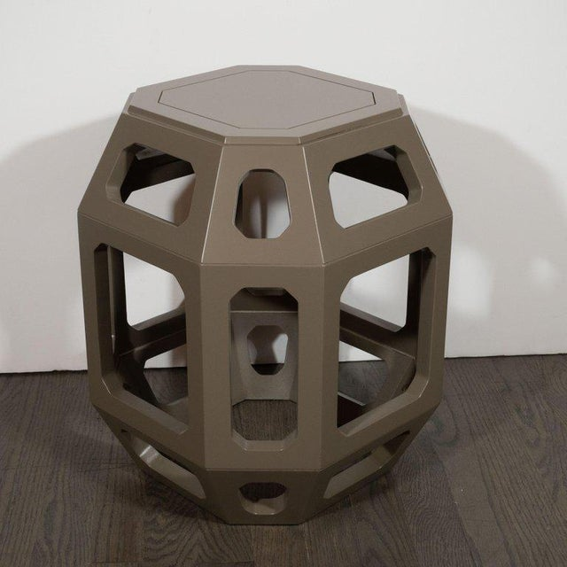 1960s Pair of Mid-Century Modern Geometric Cut Out Gray Lacquered Stools For Sale - Image 5 of 6