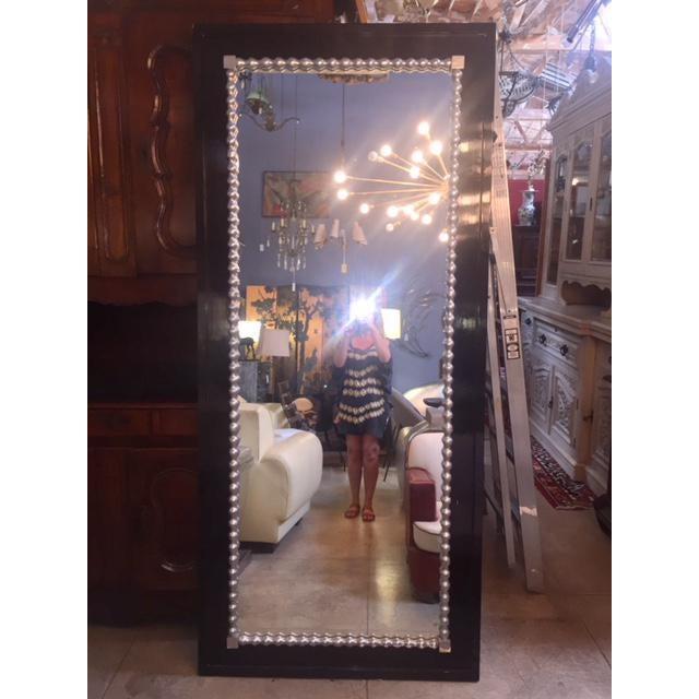 Wood 1960s Vintage Black & Silver Leaf Mirror For Sale - Image 7 of 8