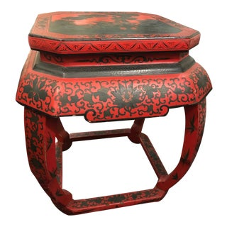 Chinese Red and Black Decorative Stool