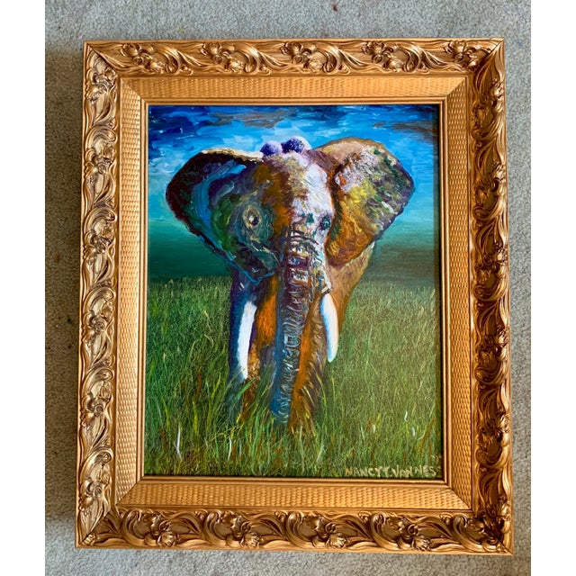 Original Oil Painting of Elephant, Framed For Sale - Image 4 of 11