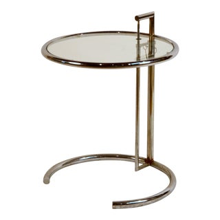 Eileen Gray Chrome and Glass Round Side Table For Sale