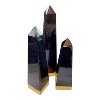 Blue Carreon Black and Brass Stone Obelisks - Set of 3 For Sale
