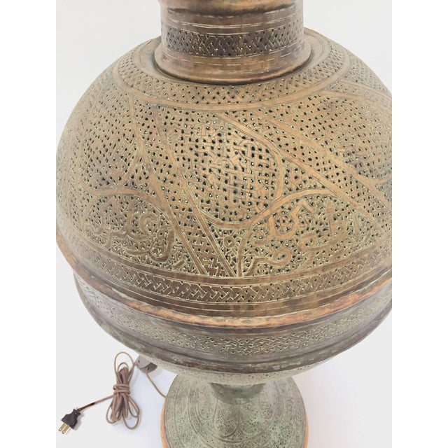Brass Antique 19th Century Middle Eastern Persian Oriental Brass Floor Lamp For Sale - Image 7 of 13
