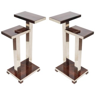 French Art Deco Wood and Nickeled Bronze Tables Attributed to A. Ducaroy - a Pair For Sale