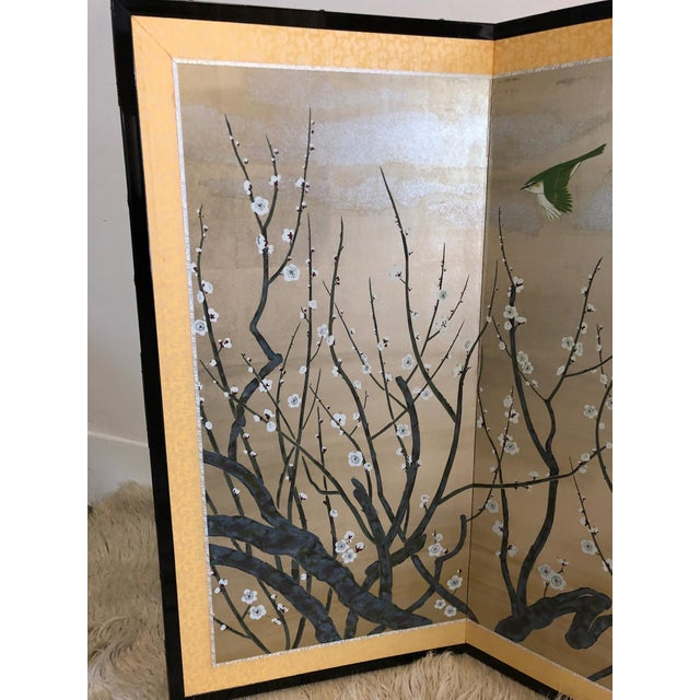 Asian Chinese Painted Silk Cherry Blossom Screen For Sale - Image 3 of 10