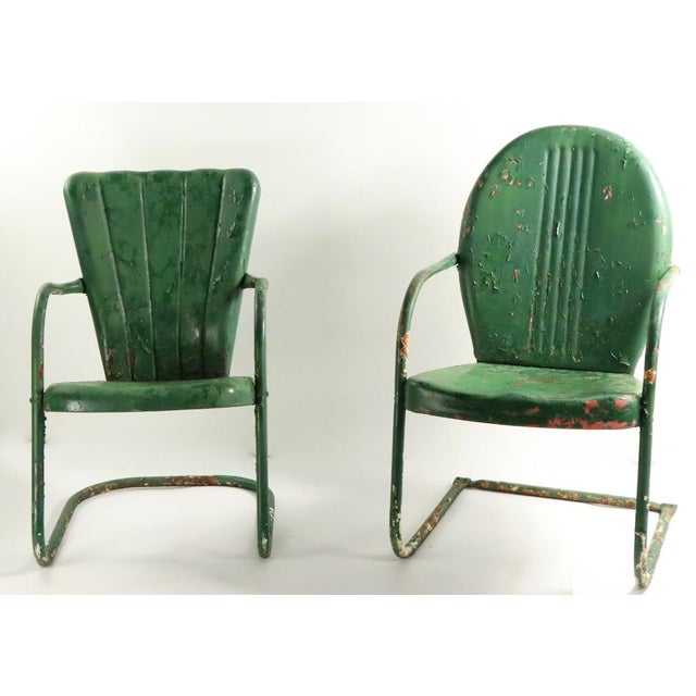 Green Metal Garden Patio Lawn Chairs - a Pair For Sale - Image 8 of 10