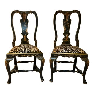 Black Lacquered Chinoiserie Side Chairs - a Pair For Sale