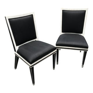 Black and White Marble and Silk Movie Prop Side Chairs - a Pair For Sale