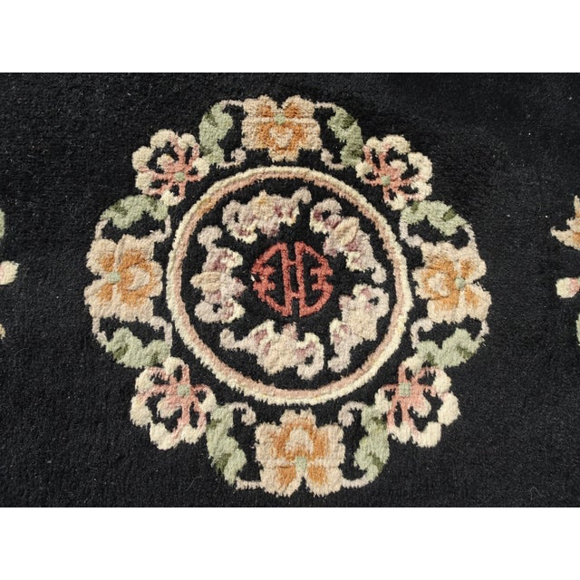 """Vintage Oriental Asian Black W Pink Floral Print Area Rug 43"""" X 75"""" For Sale In Los Angeles - Image 6 of 13"""