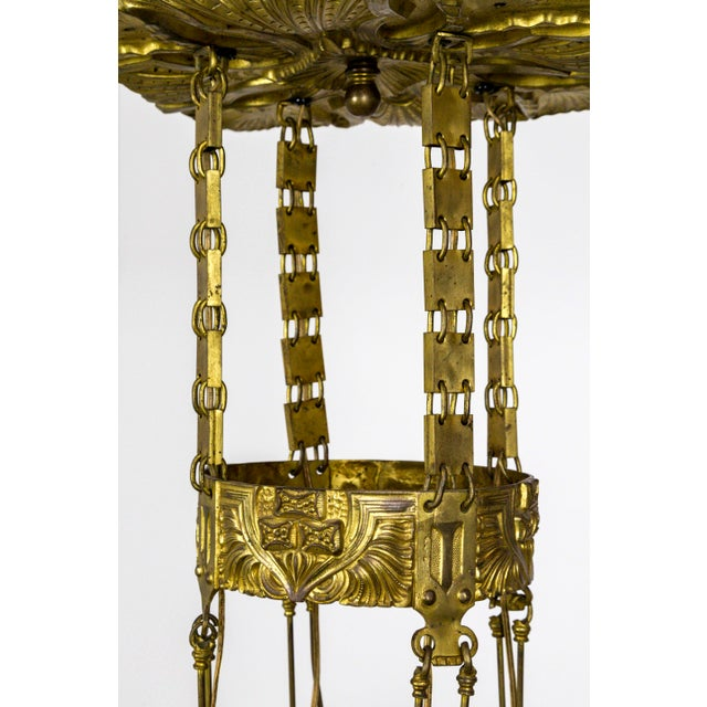 1910s Vienna Secession Nouveau Brass Chandelier W/ Square Chain & Foliage For Sale - Image 5 of 13