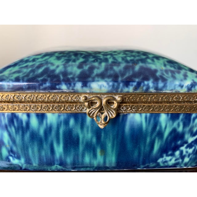 Blue fine china box by the Goldcrest Ceramic Corp. Brilliant blue color with gold trim.