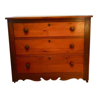 20th Century Americana Three Drawer Wood Chest For Sale