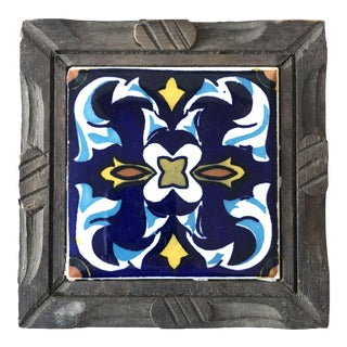 Mexican Tile & Wood Trivet For Sale