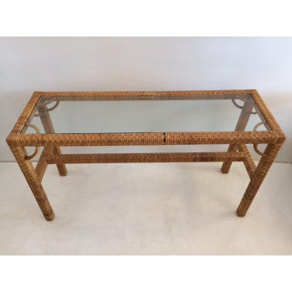 1970s Boho Chic Rattan Console With Glass Top Preview