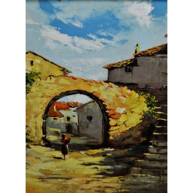 Framed European Village Scene Oil Painting For Sale - Image 4 of 11