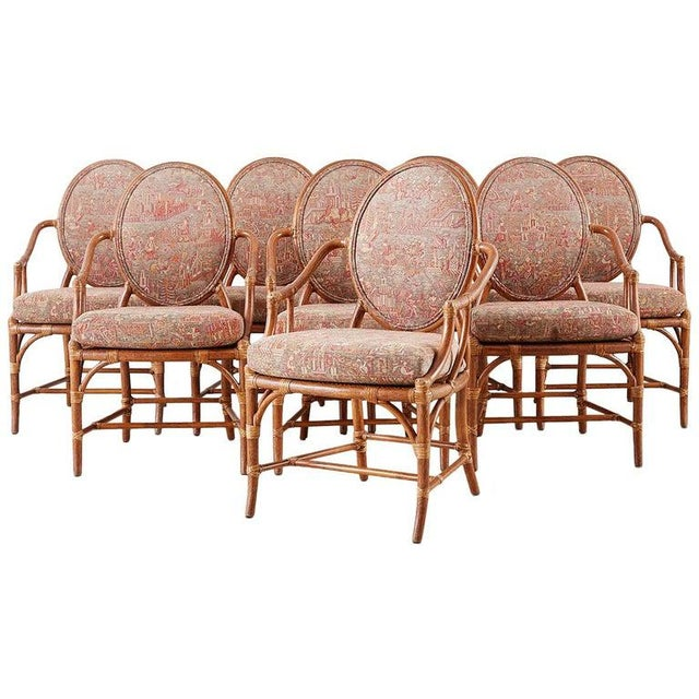 McGuire Rattan Chinoiserie Dining Armchairs - Set of 8 For Sale - Image 13 of 13
