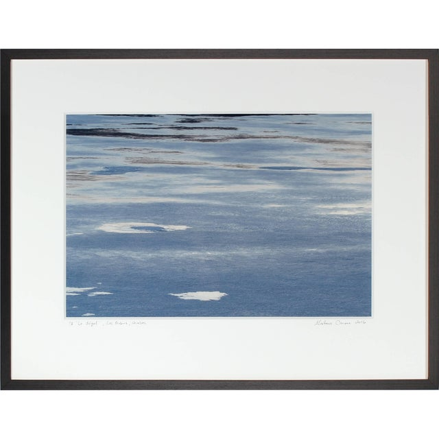 """Contemporary Gaétan Caron """"Le Dégel"""" (Thawing), Ice Melting on Lake, Abstract (Framed) 2016 For Sale - Image 3 of 5"""