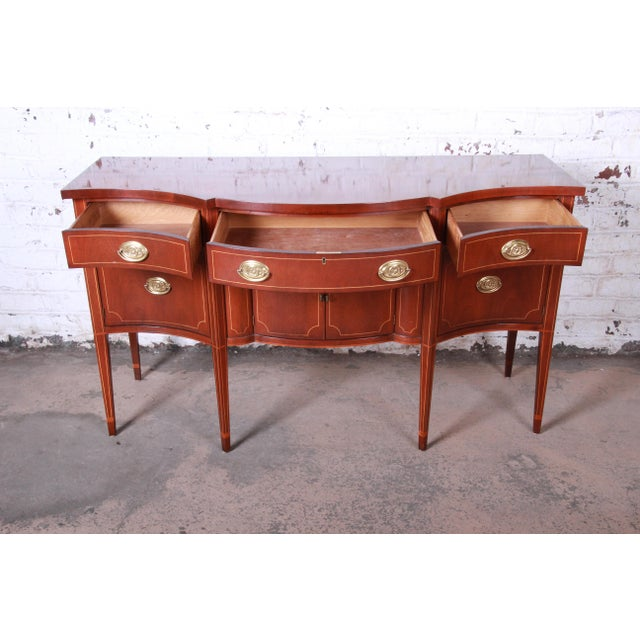 Baker Furniture Hepplewhite Inlaid Mahogany Bow Front Sideboard Credenza For Sale In South Bend - Image 6 of 13