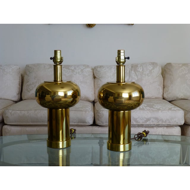 Mid-Century Modern Mid-Century Modernist & Sculptural Brass Ball Lamps - a Pair For Sale - Image 3 of 10