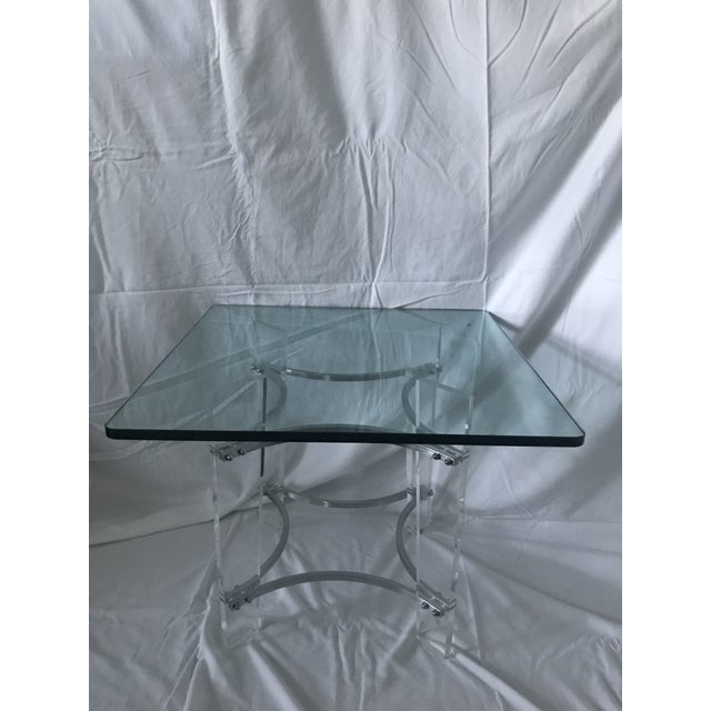 Unique Mid Century Modern Lucite, Chrome, and Glass Square Side Table in the Art Deco Taste after Charles Hollis Jones....