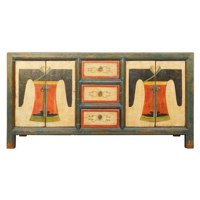 Chinese Distressed Graphic Console Table Cabinet cs2030C - Image 1 of 8