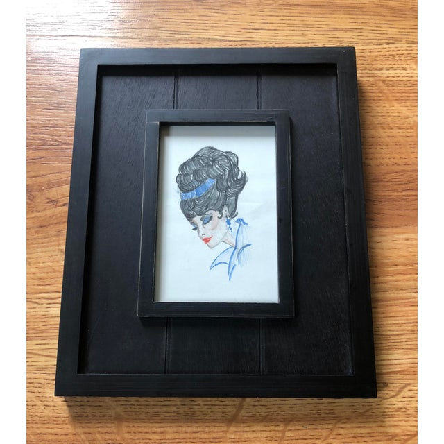 1960s Mid-Century Modern Framed Original Sketch of Glamorous Woman with Bouffant Hairdo For Sale - Image 5 of 5