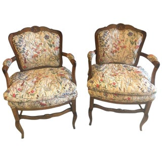 Ountry French Boudoir Fauteuil Louis XV Chairs in Quilted Like Upholstery, Pair For Sale