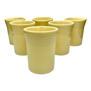 1990s Vintage Fiestaware Discontinued Yellow Juice Tumblers- Set of 6 For Sale