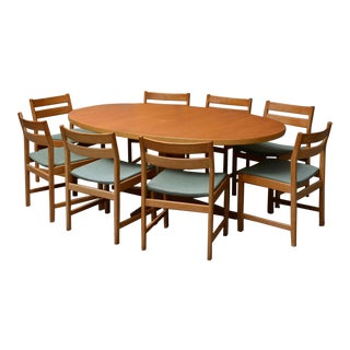 1970s Danish Modern Kurt Ostervig for Kp Furniture Dining Sets - 9 Pieces For Sale