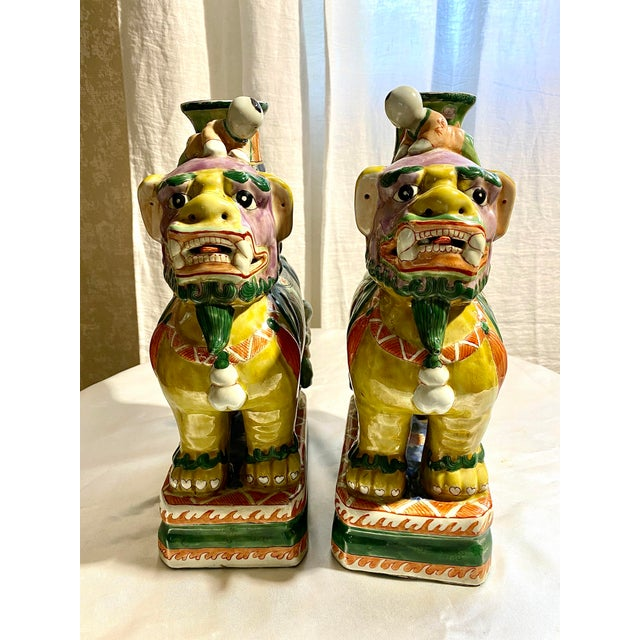Figurative Chinese Foo Dog Candlesticks - a Pair For Sale - Image 3 of 13