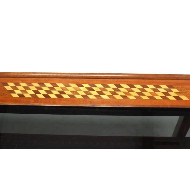 Walnut Smoked Glass Top Marquetry Design Long Coffee Table For Sale - Image 4 of 9