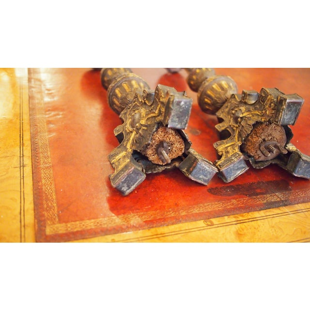 Louis XIV Style Tole Candlesticks For Sale - Image 11 of 11