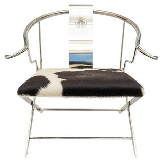Chrome Ming Style Horseshoe Back Armchair For Sale