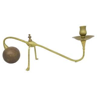 Modern Sculptural Brass Candlestick For Sale
