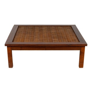 Antique Chinese Square-Shaped Elm Coffee Table with Rattan Inset and Fluted Legs For Sale