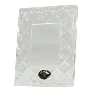 Vintage Label Czech Republic Diamond Design Small Bohemia Lead Crystal Glass Picture Frame For Sale