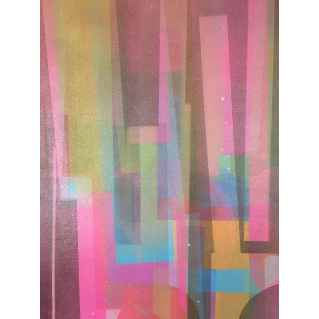 Large Mid-Century abstract geometric painting, signed Marian Ford. Purple, blue, green, and pink geometric shapes. Sprayed...
