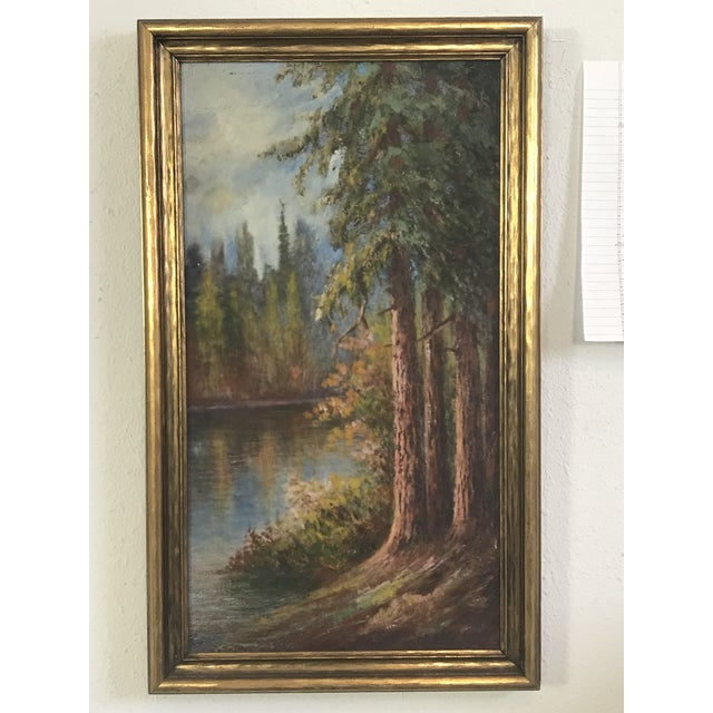 "1920s 1927 ""California Redwoods on the Riverbank"" Landscape Painting For Sale - Image 5 of 12"