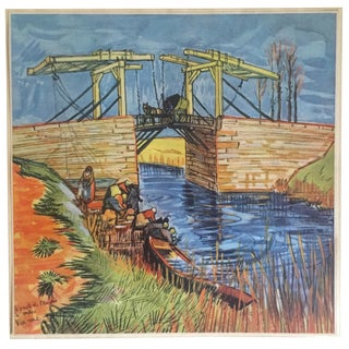 "Rare Vintage 1937 Van Gogh Large Original Lithograph Print "" the Bridge at Arles "" 1888 For Sale"