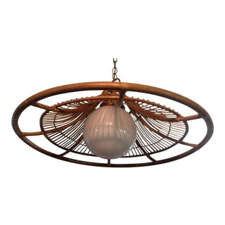 Mid Century Bamboo Rattan Chandelier Lighting