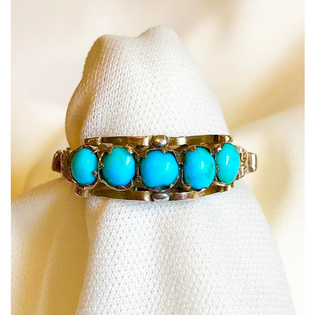 Metal Antique 15k Gold and Turquoise Ring For Sale - Image 7 of 7