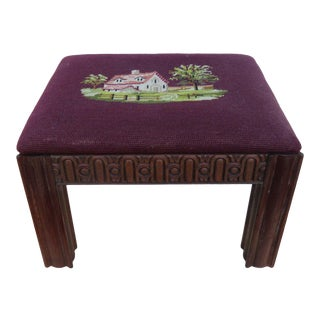 Chinese Chippendale Mahogany Needlepoint Tapestry Ottoman Footstool Bench For Sale