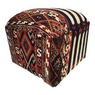 "Ottoman Upholstered w/Antique Tribal Azeri Kilim 18"" H"