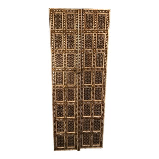 Brown Solid Wood and Mother of Pearl Inlay Custom - Made Doors - a Pair For Sale