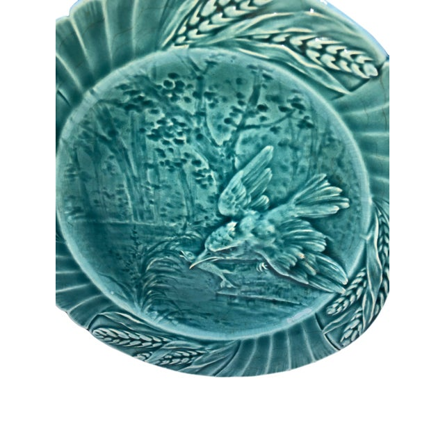 19th Century Set of Six Antique French Majolica Bird Plates - Set For Sale - Image 5 of 11