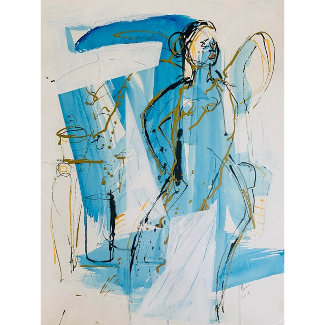 """Figure Study Ink """"Figure in Blue and Gold"""" Abstract by Anne Darby Parker For Sale"""