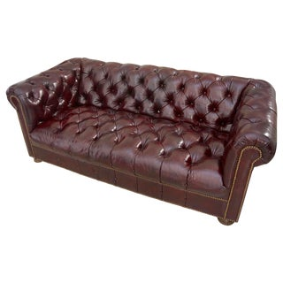 Burgundy Leather Chesterfield Sofa For Sale