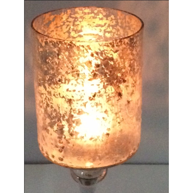 Tall Modern Cylindrical Mercury Glass Candleholder - Image 4 of 6