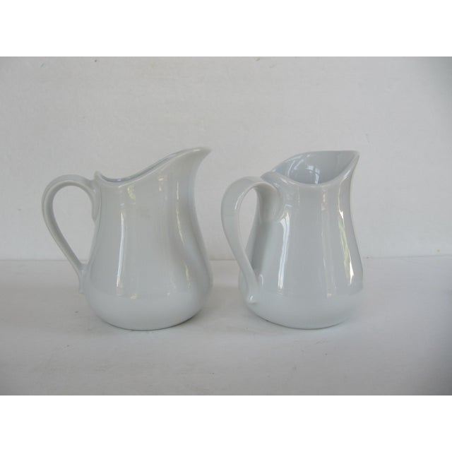 Pair of Vintage APILCO France Classic Whiteware Porcelain Pitcher /Creamer Two small pitchers or large creamer. Great for...