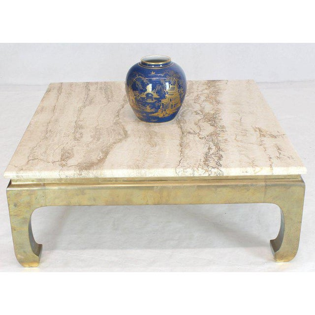Mid-Century Modern 1970s Modern Solid Brass Base Square Travertine Top Coffee Table For Sale - Image 3 of 10